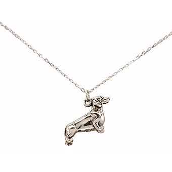GEMSHINE necklace 3-D dachshund, dog. 925 silver, gold plated or rose pet