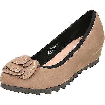 Comfort Plus Black Wide Fit Concealed Wedge Suede Style Shoes
