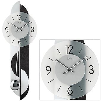 AMS 7299 Wall clock Quartz with pendulum pendulum clock with slate and aluminum