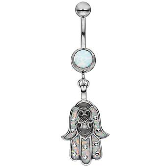 Belly button piercing stainless steel with opal deposits navel Bananabell
