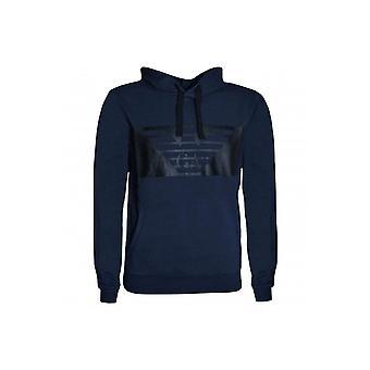 EA7 Men's Navy Blue Hooded Sweat Top