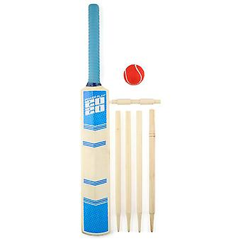 Powerplay 2020 Deluxe Cricket Bat Ball Stump Set Blue - Taglia 3