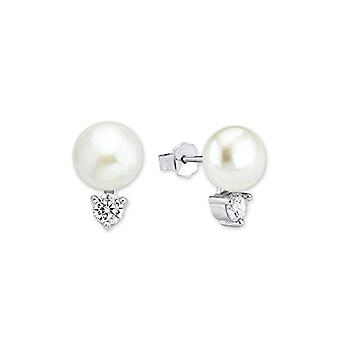 Amor 925 silver Round Round cultivated pearls d'white fresh water Zirconia cubic