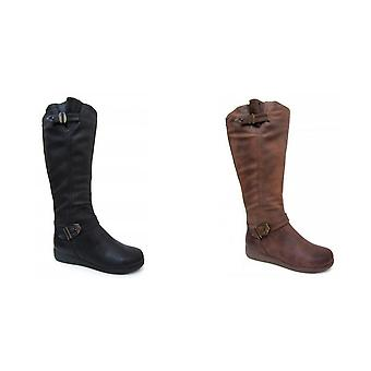 Spot On Womens/Ladies Zip Up Knee High Boots