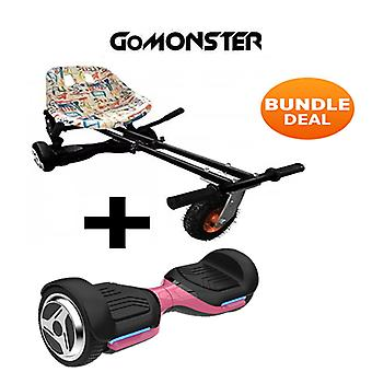 "6.5"" G PRO Pink Bluetooth Hoverboard with Go Monster Hoverkart in Graffiti"