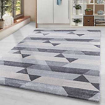 Diseñador Rug Modern ShortFlower Triangle Pattern Gris Plata Crema Color
