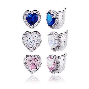 Herrliche Halo Herz Hebel zurück Ohrringe in klar, rosa oder blau Saphir