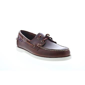 Sebago Portland Waxed  Mens Brown Leather Wide Casual Boat Shoes