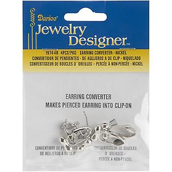 Darice Earring Converters Nickel Pierced to Clip 4Pc