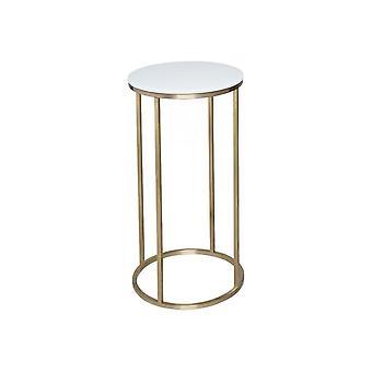 Gillmore weiß Glas und Gold Metall zeitgenössische runde Lampentisch