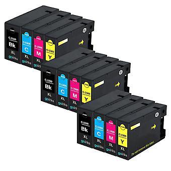 3 Conjunto de 4 cartuchos de tinta para substituir Canon PGI-1500XL Compatível/não-OEM de Go Inks (12 tintas)