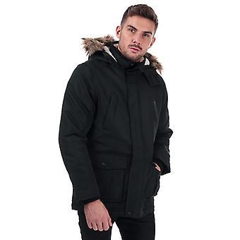 Men's Crosshatch Black Label Fellflower Parka Jacket in Black