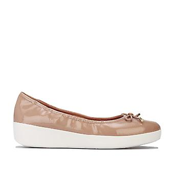 Women's Fit Flop Superbendy Patent Ballerina Shoes in Brown