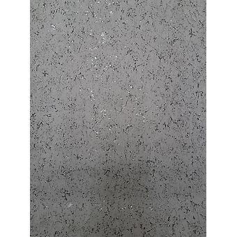 Grey Silver Metallic Glitter Wallpaper Paste Wall Glossy Plaster Textured Vinyl
