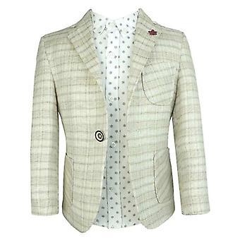 Couche Tot 4 pezzo estate lino cotone vestito beige con banda marrone