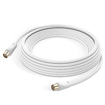 Coxial TV Antenna Cable Male Female 9.5mm PVC 5m LinQ White