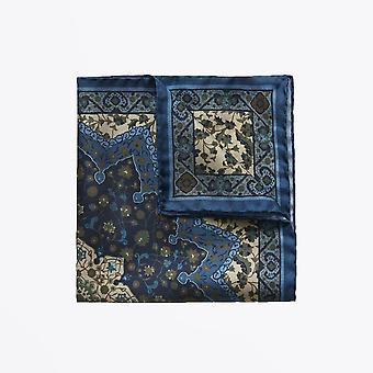 Eton  - Lotus Flower Pocket Square - Blue