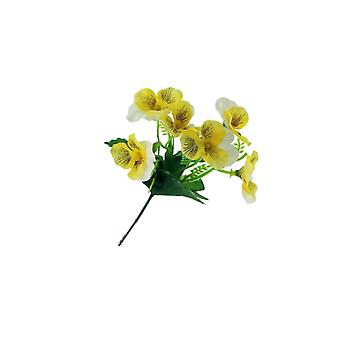 18cm Yellow & White Pansy Pick - Artificial Fabric Flowers