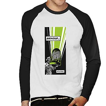 Mountain Dew Behold Comic Strip Men's Baseball Long Sleeved T-Shirt