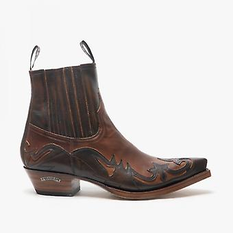 Sendra 4660 Mens Leather Pointed Cuban Heel Cowboy Boots Brown/tan