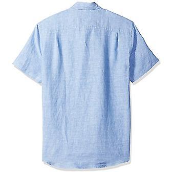 Essentials Men's Slim-Fit kortærmet linned skjorte, blå, medium