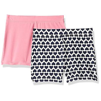 LOOK by Crewcuts Girls' 2-Pack Tumble Short, Pink/Navy Heart Stack, Medium (8)