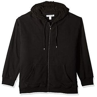 Essentials Men's Big and Tall Sherpa Lined Full-Zip Hooded Fleece Sweatshirt fit by DXL, Black, 2XLT
