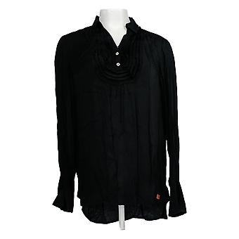 Peace Love World Women's Top Tuxedo Blouse W/Belle Sleeve Black A295083