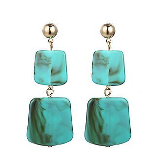 Zinc Acrylic Resin Square Disc Drop Earrings