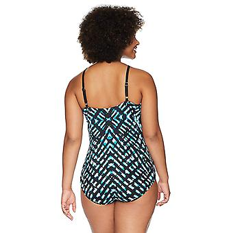 Coastal Blue Women's Control One Piece Swimsuit, Stained Glass, M (8-10)