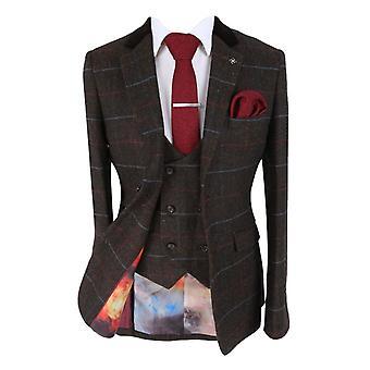 Men's Tommy Brown Double Breasted Waistcoat Slim Fit Tweed Check Herringbone Suit