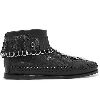 Alexander Wang Ezcr040007 Women's Black Leather Ankle Boots