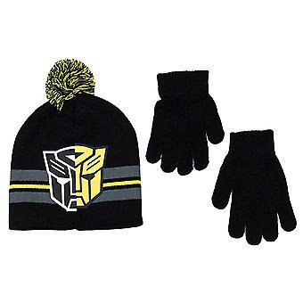 Beanie Cap - Transformers - Autobots Logo Black Set w/Glove
