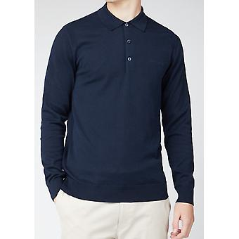 Navy Long-Sleeved Knitted Polo Shirt