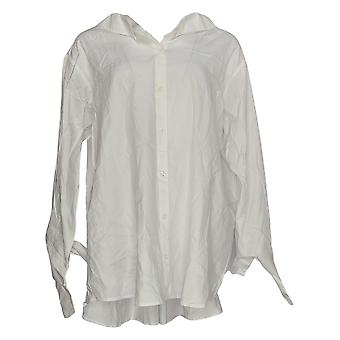 Women with Control Women's Plus Top Woven Elastic Back White A351895