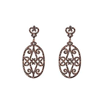Pink Chocolate Brown Belle Oval CZ Gemstone Statement Rose Gold Drop Earrings