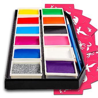 Kit de pintura facial para niños - conjunto de pintura facial premiada de calidad profesional para niños, seguro para