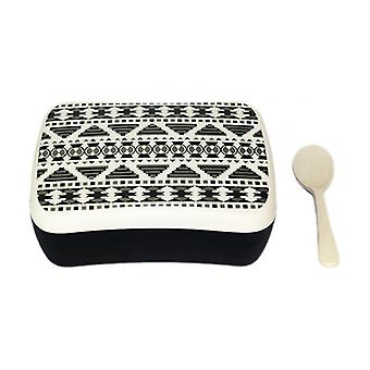 """Lunchbox with Spoon """"Azteco Black and White"""" 2 units"""