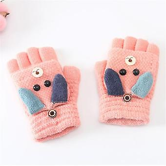 Kid Winter Christmas Caldo Carino Cartone animato Soft Flip Half Finger Guanti