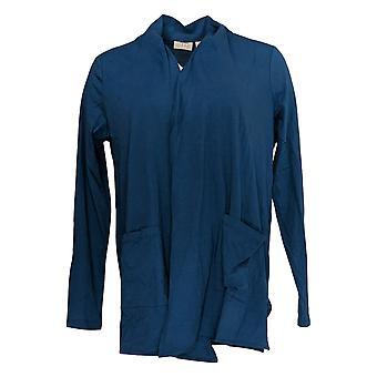 LOGO by Lori Goldstein Women's Sweater Open-Front Cardigan Blue A345358
