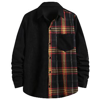 Yunyun Men's Regular Fit Soft Stitching Long Sleeve Corduroy Plaid Casual Shirt
