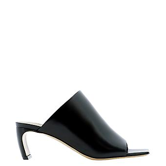 Lanvin Saas10nagoa2010 Kvinnor's svarta lädertofflor