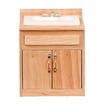 Unité légère d'évier de chêne de maison de poupées avec le mélangeur tap miniature 1:12 meubles de cuisine