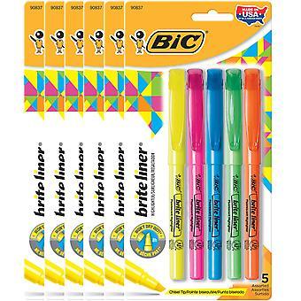 Brite Liner Highlighters, Chisel Tip, Assorted Colors, 5 Per Pack, 6 Packs