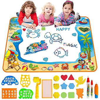 Water doodle mat aqua drawing painting mat large 100 x 70cm mess free learning toys for 2 3 4 5 6 ye