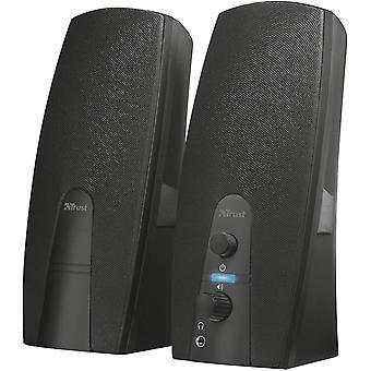 Vertrauen Sie almo 2.0 PC-Lautsprecher für Computer und Laptop, 10 w, USB-Betrieben, schwarz single