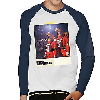Space 1999 Helena And John In Orange Space Suits Men's Baseball Long Sleeved T-Shirt