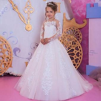 First Communion Flower Dresses Beaded Applique Kids Evening Gowns