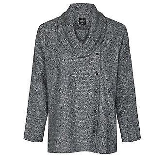 TIGI Grey Button Detailed Cowl Neck Top