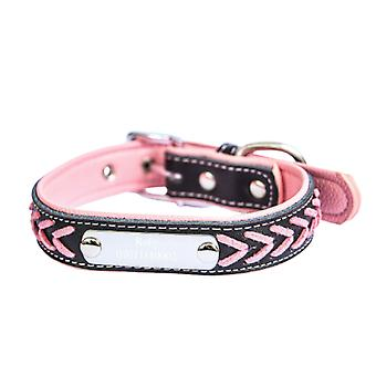 Soft braided pu leather collar and tag